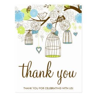 Die blauen und grünen Blumen Birdcages danken Postkarte
