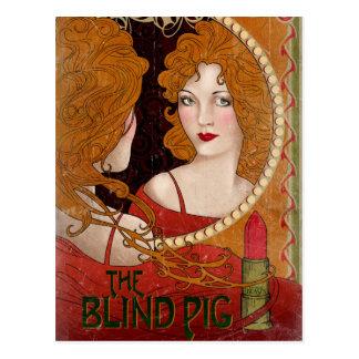 Die blindes Schwein-Vintage Grafik Postkarte
