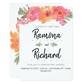 Die Blume, die rosa und orange Blumen wedding ist, Karte