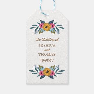 Die BlumenKranz-weiße Hochzeits-Sammlung Geschenkanhänger
