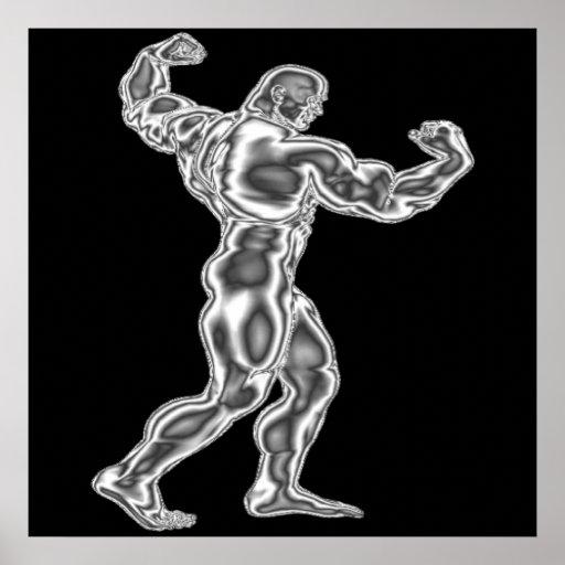Die Bodybuildings-Pose-Plakat der Männer
