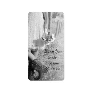 Die Braut in den Cowboystiefel-Sonnenblumen Adressaufkleber