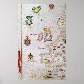 Die britischen Inseln, die Iberia und das Nordwest Poster
