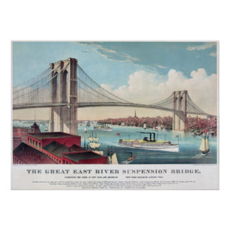 Die Brooklyn-Brücke in New York City ab 1883 Poster