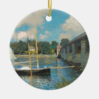 Die Brücke bei Argenteuil - Claude Monet Rundes Keramik Ornament