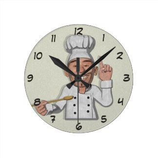 Die Cartoon-Art des Kochs-2 Runde Wanduhr