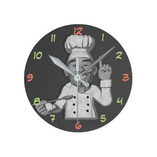 Die Cartoon-Art des Kochs-3 Runde Wanduhr