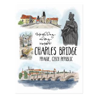 Die Charles-Brücke Prag schlendern - Postkarte