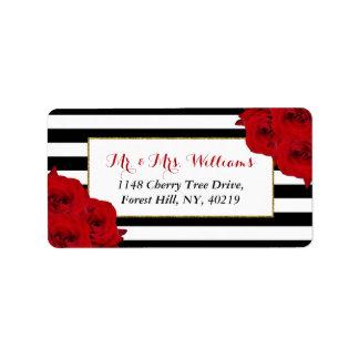 Die chic-modernen Luxe Hochzeits-Sammlungs-Roten Adressaufkleber