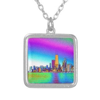 Die Chicago-Skyline in farbiger Folie Versilberte Kette