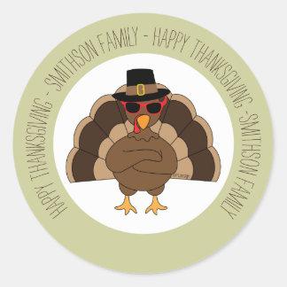 Die coole Türkei mit Sonnenbrillen glücklichem Runder Aufkleber