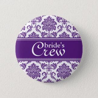 Die Crew-Knopf der dunklen Orchideen-Damast-Braut Runder Button 5,1 Cm