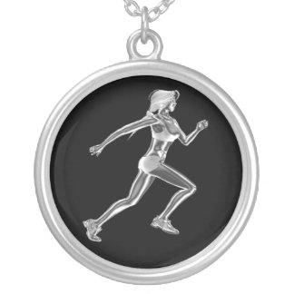 Die Dame Runner Necklace der Frauen Halskette Mit Rundem Anhänger
