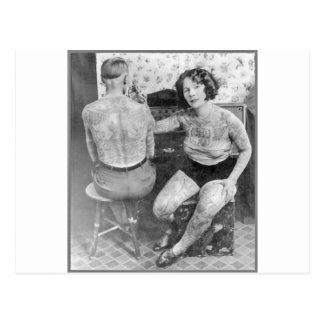 Die Dame Tattoo Artist Postkarte