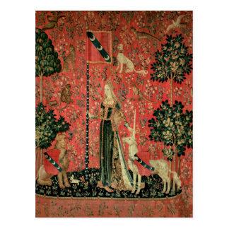 Die Dame und das Einhorn: 'Touch Postkarte