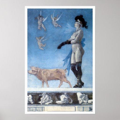 Die Dame und das Schwein (Pornokrates) Posterdrucke