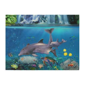 Die Delphin-Familie Holzdruck