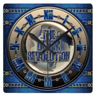 Die Denim-Revolution Quadratische Wanduhr