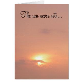 Die der Sonne Sets nie… auf meiner Liebe für Sie! Karte