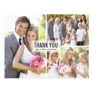 Die drei Foto-Collagen-Hochzeit danken Ihnen Postkarte