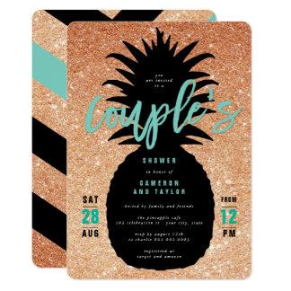 Die Dusche des kupfernen Glitter-Ananas-Paares 12,7 X 17,8 Cm Einladungskarte