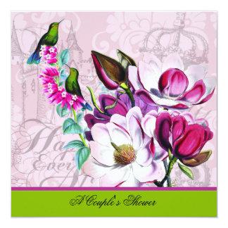 Die Duschen-Einladung des Kolibri-Magnolien-Paares Karte