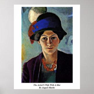 Die Ehefrau der Künstler mit einem Hut bis August  Poster
