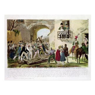 Die Einwohner, welche die Tore niederlegen Postkarte