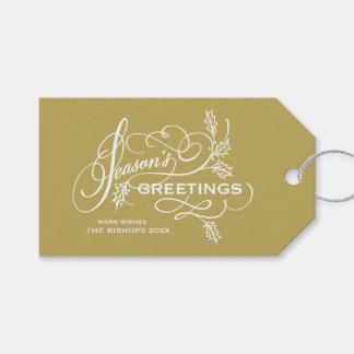 Die eleganten Grüße der Goldjahreszeit blühen Geschenkanhänger