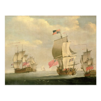 Die englische Flotte unter Segel Postkarte