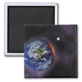 Die Erde gezeigt an den äußeren Rändern Quadratischer Magnet