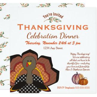 Die Erntedank-Türkei-Feier-Abendessen-Einladung Karte