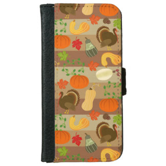Die Erntedank-Türkei-Kürbis-Herbst-Ernte-Muster iPhone 6/6s Geldbeutel Hülle