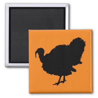 Die Erntedank-Türkei-Silhouette Quadratischer Magnet
