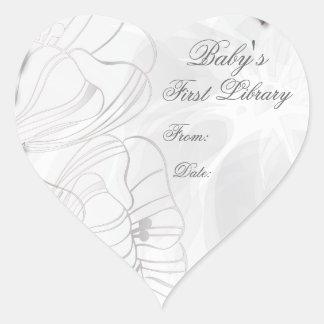 """Die erste Bibliotheks-"""" Buch-Platte """"des Babys - Herz-Aufkleber"""