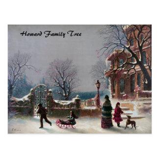 Die erste Schnee-Weihnachtsszene Postkarte