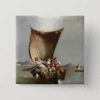 Die Familie des Fischers (Öl auf Leinwand) Quadratischer Button 5,1 Cm