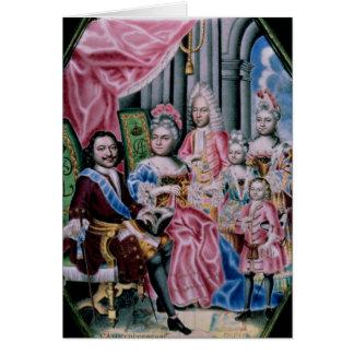 Die Familie des Kaisers Peter I, das große, 1717 Karte