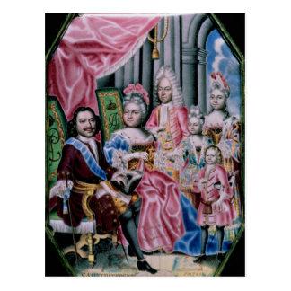 Die Familie des Kaisers Peter I, das große, 1717 Postkarte