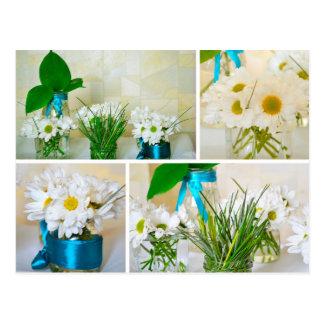 Die Farben des Frühlinges, weiße Blumenpostkarte Postkarte