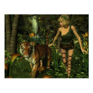 Die Fee und die Tiger-Postkarte Postkarte