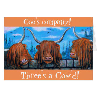Die Firma des Gurrens, drei ein cow'd. Grußkarte