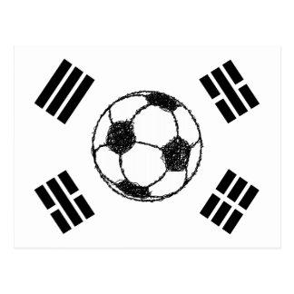 Die Flagge der Fußball-Skizze Südkoreas | Postkarte
