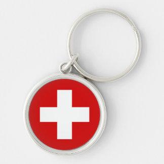 Die Flagge von der Schweiz Silberfarbener Runder Schlüsselanhänger