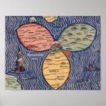 DIE FLAGGEN-KLEE-BLATT-KARTE VON JERUSALEM (1581) PLAKATDRUCK