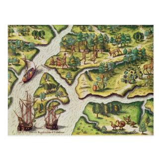 Die Franzosen kommen im königlichen Hafen an Postkarte