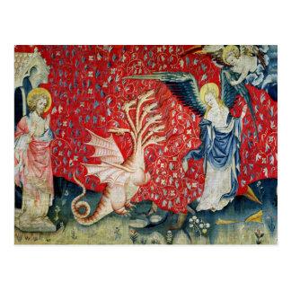 Die Frau, die Flügel empfängt, um den Drachen zu Postkarte