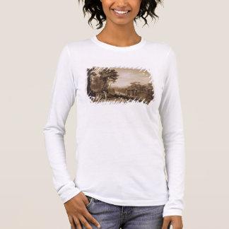 Die Frau und der Tambourine, graviert durch Langarm T-Shirt