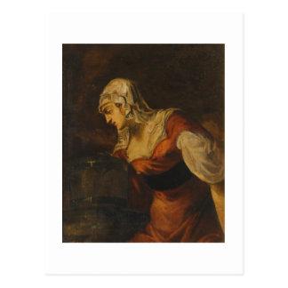 Die Frau von Samaria an gut, c.1560 (Öl auf c Postkarte