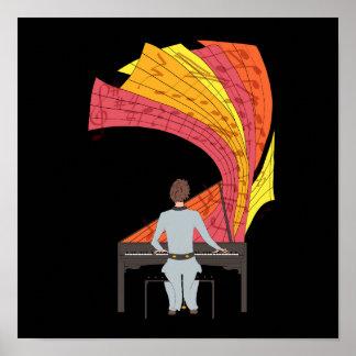 Die Freude am Spielen der Klavierillustration Poster